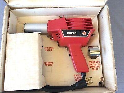 Vintage Usa Master-mite Heat Gun Model 10008 With Deflector Adapter 40060 Box