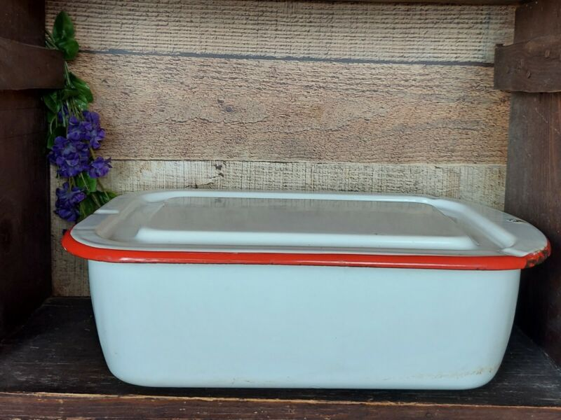Vintage Large Enamelware Refrigerator Dish With Lid Red Trim