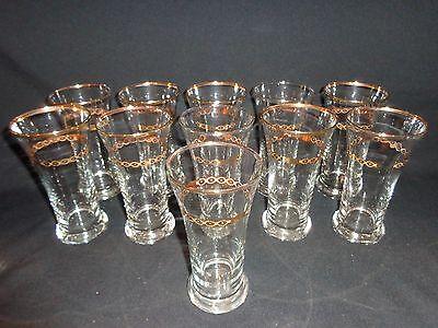 """Set of 12 Vintage Gold Rimed & Banded Beer Glasses, 5-7/8"""" tall, Marked"""