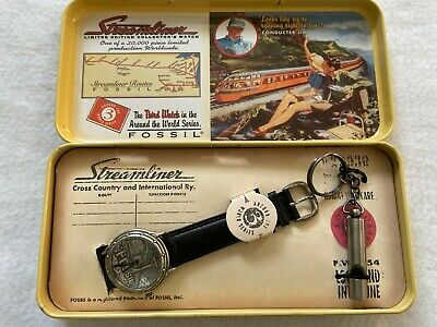 Limited Edition Streamliner by Fossil Quartz Watch with Train Whistle and Case