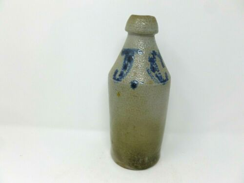 Antique Stoneware Beer Bottle J.C. in Blue
