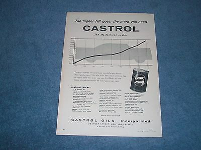 """1957 Castrol Motor Oil Vintage Ad """"The Higher HP Goes, The More You Need...."""""""