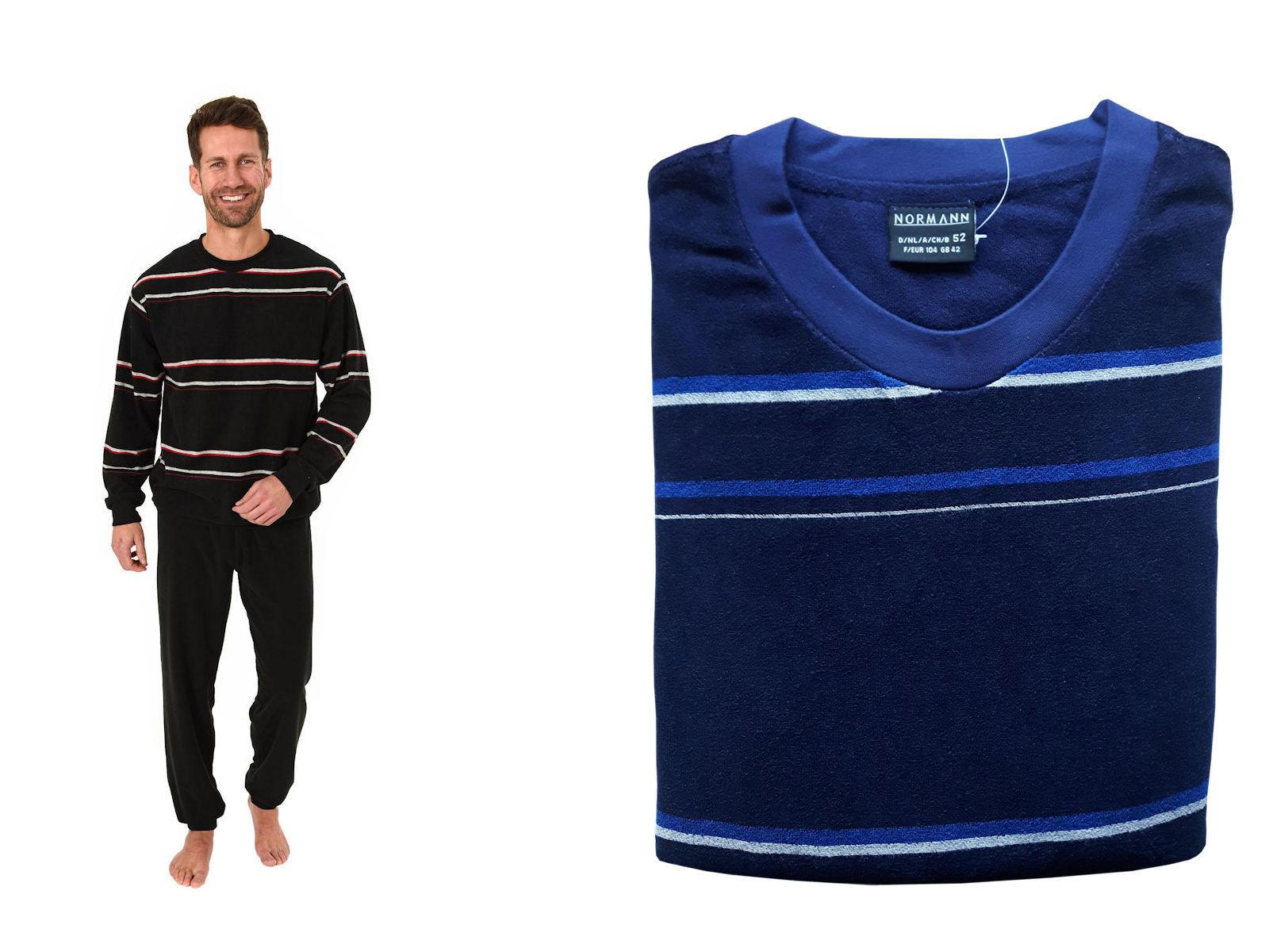 Herren Frottee Pyjama Rundhals Ringel Motiv Uni Hose 62318 Übergrößen