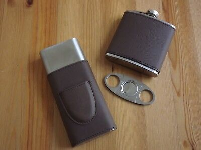 Leather Stainless Steel 54 R Gauge 3 Cigar Case W/ Cutter & 5 Oz Flask Gift Set - Leather Cigar Flask Set