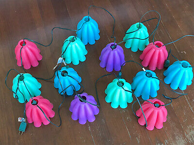 2 Vtg Tiffany Colorful Plastic Blow Mold Patio Camper Party String 14 Light WORK