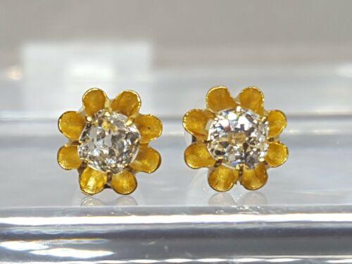 Antique Victorian 14K Yellow Gold Mine Cut Diamond Stud Earrings .50cts T.D.W.