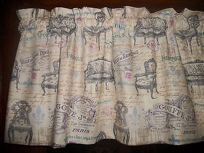 Paris Victorian Furniture french writting fabric topper curtain Valance