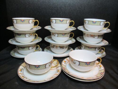 Limoges France Vignaud Cups and Saucers Gold Trim 23 Pieces