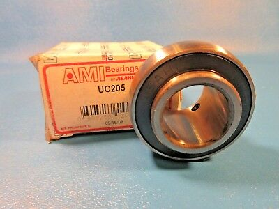 Ami, Asahi UC205 Ball Bearing Insert, Setscrew Locking, Double Sealed