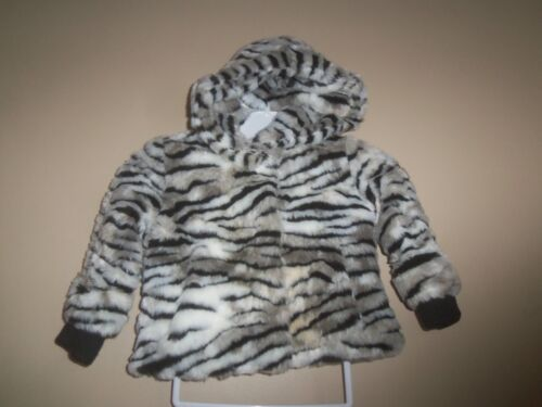 JUICY COUTURE FUR BLACK WHITE STRIPE PINK LINED HOODED WINTER COAT JACKET 2 3