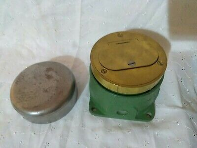 Vintage Lew Metallic Electrical Floor Box With Brass Cover Receptacle