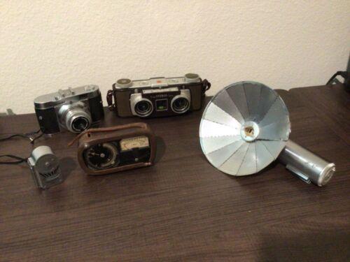 Vintage Lot of Cameras and Accessories Kodak Stereo, Weston Light Meter, Ranier