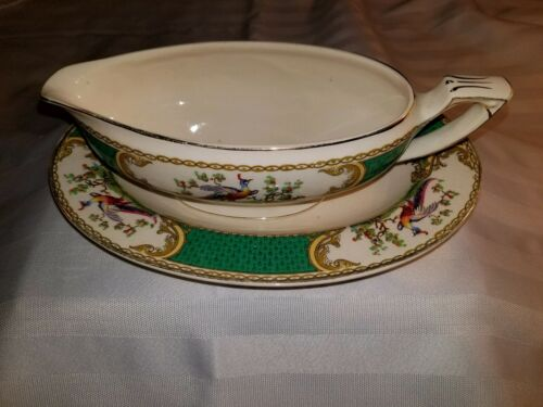 Myott Chelsea Bird Green Gravy Boat and A Robert Stamped Under Plate See Photos*