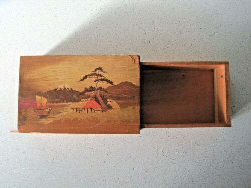 1 OLD Japanese WOOD PUZZLE BOX hidden drawer MT FUJI WORLD WAR 2 DADDY & JACKS