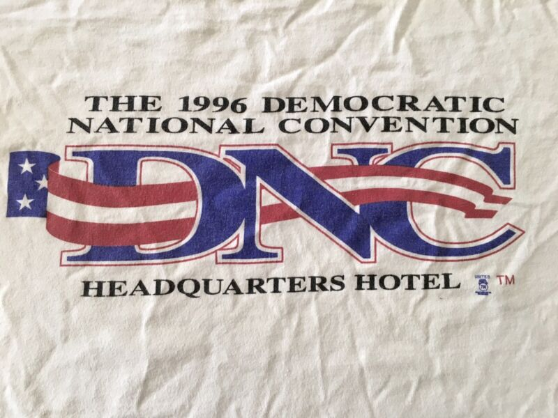 Vintage 1996 LARGE DNC Democratic National Convention HDQ. HOTEL STAFF T-Shirt