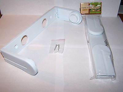 NEW Kitchen Hinged White Plastic Under Cabinet / Wall-Mount Paper Towel Holder