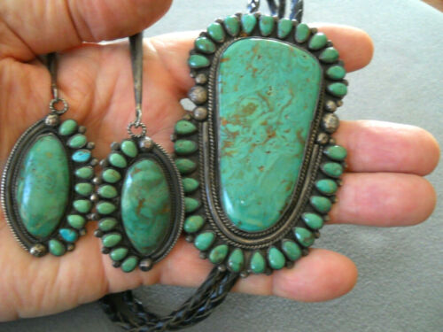 """Huge Native American Green Turquoise & Clusters Sterling Silver Bolo Tie 3 3/4"""""""
