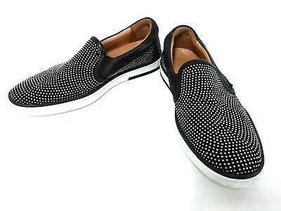Auth JIMMY CHOO Black White Leather Shoes Men