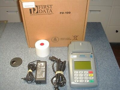 First Data Pos Credit Card Machine Fd100 Terminal W Fd-10c Pin Pad