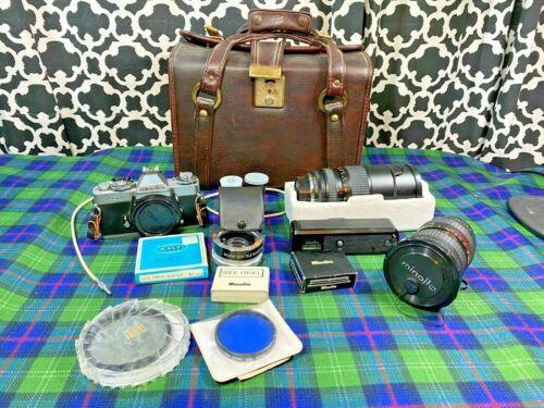 Vintage Minolta XD11 35MM Camera with Lens Accessories Lot