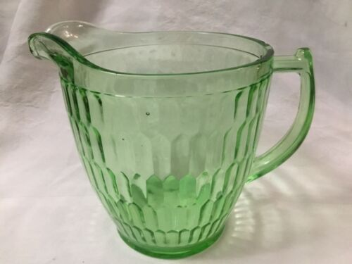 """Vntg Green HEX OPTIC JEANNETTE Glass Co. 4Cp DEPRESSION GLASS Pitcher 5.5"""""""