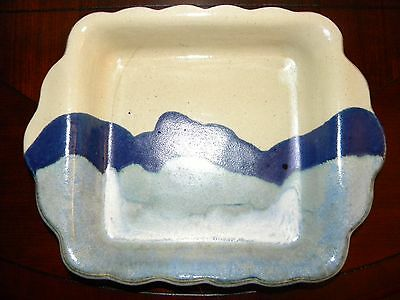 Blue Pottery Square Baker Pan Dish Ceramic Drip Glaze Scallop Edg Handles Signed Blue Square Dish