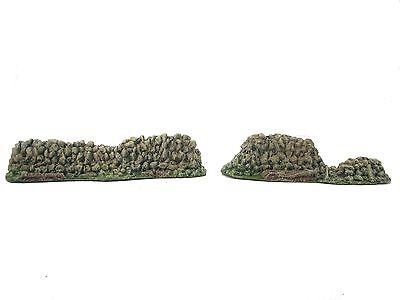 STONE WALLS PAIR DEFENSE POINTS 54mm CAST FOAM ATHERTON SCENICS (#9501)