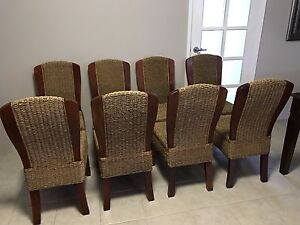 8 Wooden and Sea Grass Bali Dining Chairs Falcon Mandurah Area Preview