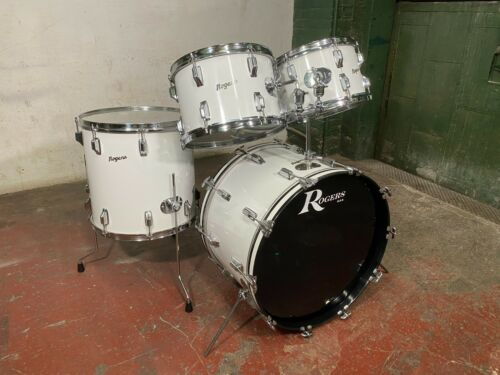 Rogers Vintage 1970s 3ply Drum Set New England White 4pc  22, 12, 13, 16