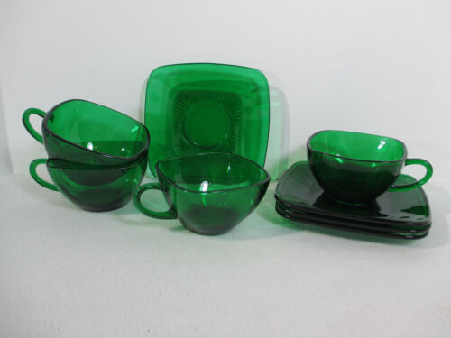 Cup Saucer Anchor Hocking Charm Forest Green Glass Square Vtg 4 sets 8pcs