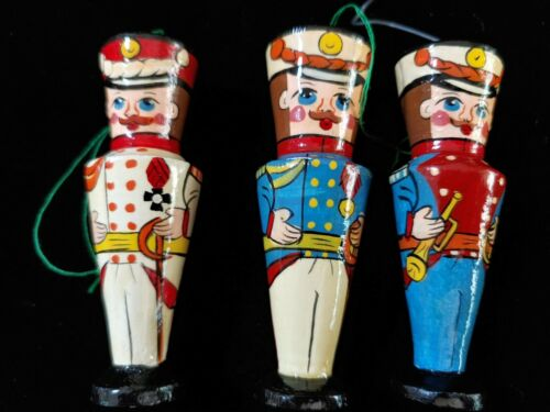3 Folk Art Wooden Russian Soldier Christmas Ornaments