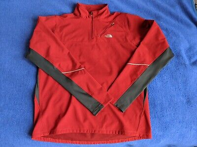 The North Face Mens Jacket Size L Red 1/4 Zip Pullover