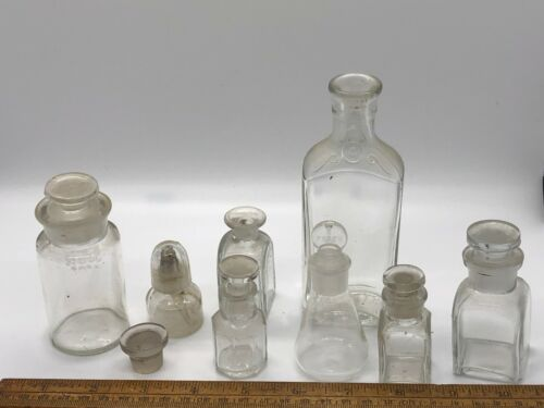 Antique Vintage Apothecary Clear Bottles/Jars w Stoppers, Unusual Screwtop