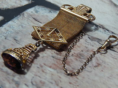 Antique Victorian Amethyst & gold vest pocket watch chain mesh belt swing fob