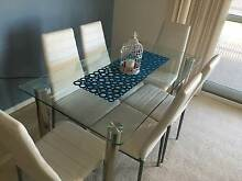 Glass dining TABLE WITH 6 X WHITE CHAIRS Thornlands Redland Area Preview
