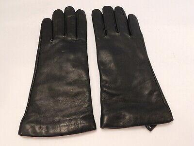 GRANDOE LADIES BLACK LEATHER WINTER GLOVES CASHMERE KNIT LINING SIZE LARGE Grandoe Lined Gloves