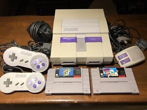 Super Nintendo SNES Console w Super Mario World, Mario Paint, &