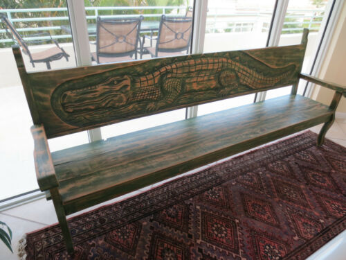 Vintage Unique Extra Long Wood Bench