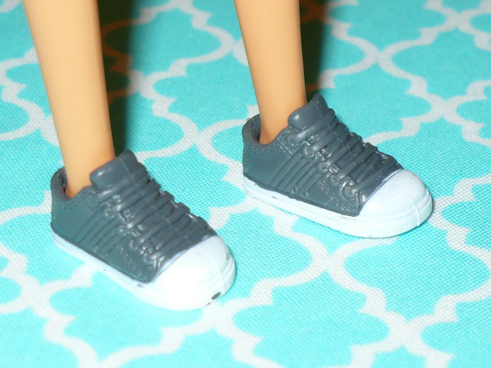 Mattel Barbie Doll Shoes FASHIONISTAS SMALL FLAT FEET GRAY SENEAKERS Gym - $7.99