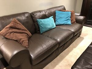 Brown Leather IKEA Couch