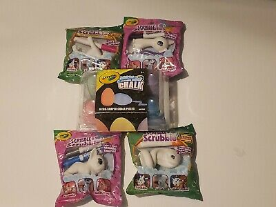 Scribble Scrubbie Pets Color & Kids Activity Crafts& Crayola Egg Chalk LOT OF 5