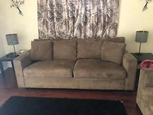 Crate and Barrel brown suede sofas