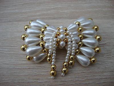 tolle Haarspange mit Perlen perlmutt- und goldfarben neu