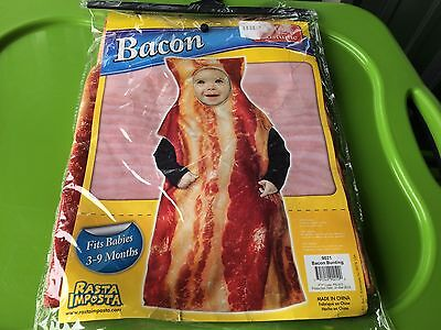 Baby Bacon Halloween Costume (Baby Infant Bacon Costume Bacon Bunting Halloween Food Costume 3-9 Months NEW)