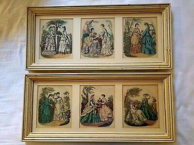 Antique Godey 6 Art Fashion Prints Original 1860's Hand Colored Framed Signed