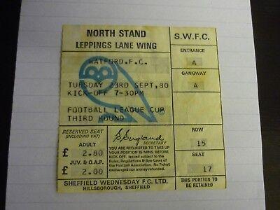 Sheffield Wednesday v Watford Ticket Stub 23-9-80 Football League Cup