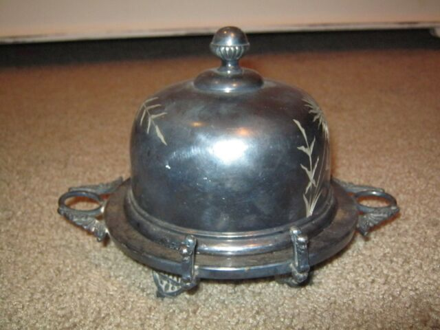 ANTIQUE BARBOUR BROS. QUADRUPLE SILVER PLATE COVERED BUTTER DISH FREE SHIPPING