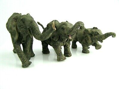 Family of Elephants 3 Resin Father Mother Baby Adorable!!