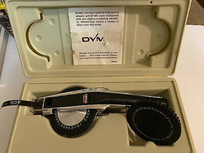 Vintage Dymo Deluxe Tapewriter 1570 Label Maker Case Extra Wheel Working
