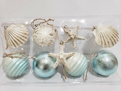GORGEOUS Coastal Beach Starfish Sand Dollar Aqua Christmas Ornaments Decor 3.5